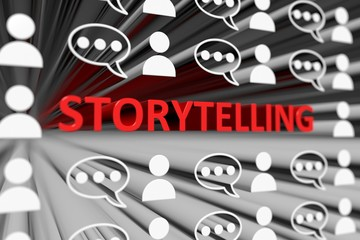 STORYTELLING concept blurred background 3d render illustration