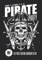 Poster for a pirate-style costume party. Monochrome vector illustration in vintage style