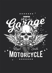 Monochrome vintage poster. The skull in the background of the wings and the spark plugs. T-shirt design. Vector illustration