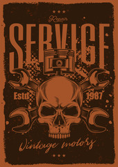 Vector vintage motorcycle poster. Skull on the background of wrenches. T-shirt design