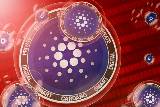 Cardano crash; Cardano (ADA) coins in a bubbles on the binary code background. Close-up.