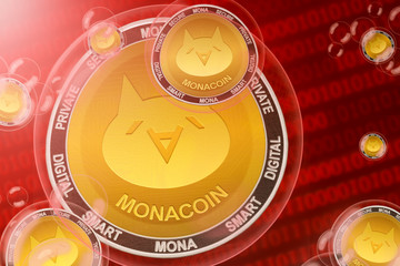 Monacoin crash; MonaCoin (MONA) coins in a bubbles on the binary code background. Close-up.