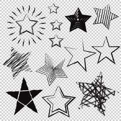 Hand drawn stars on transparent background. Vector illustration.