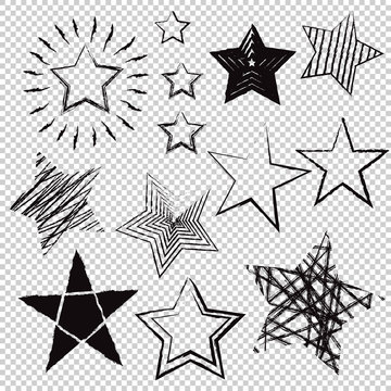 Hand drawn stars on transparent background. Vector illustration.