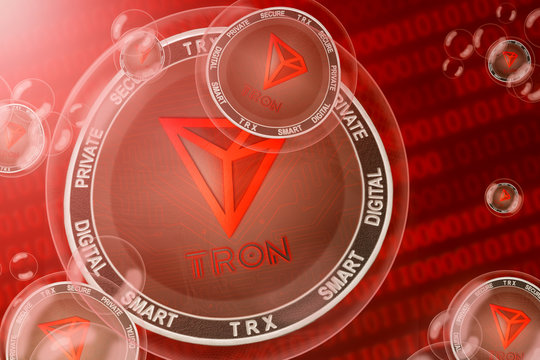 Tron crash; tron (TRX) coins in a bubbles on the binary code background. Close-up.