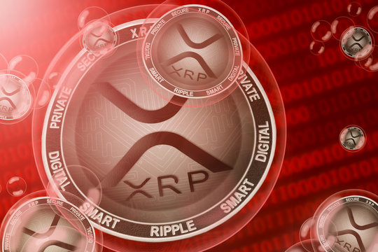 XRP crash; xrp coins in a bubbles on the binary code background. Close-up