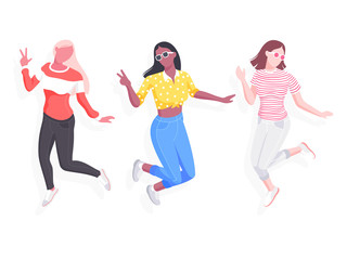 Happy young female students jump. Vector illustration