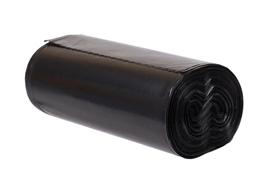 roll of black plastic garbage bags for trash