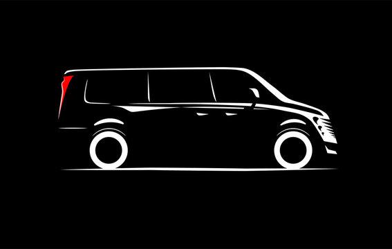 simple silhouette contour minibus