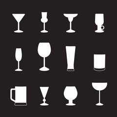 Types of glasses for different drinks, a set of icons. Vector illustration