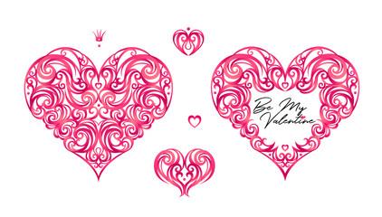 Vector hearts, romantic decor Be My Valentine.