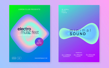 Summer music set. Modern techno show banner design. Electronic sound. Night dance lifestyle holiday. Fluid holographic gradient shape and line. Fest poster and flyer for summer music.