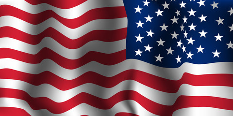 American flag wave. Vector illustration.