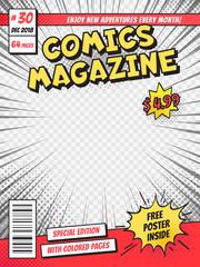 Comic book cover. Comics books title page, funny superhero magazine isolated vector template