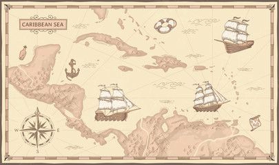 Old caribbean sea map. Ancient pirate routes, fantasy sea pirates ships and vintage pirate maps vector concept illustration