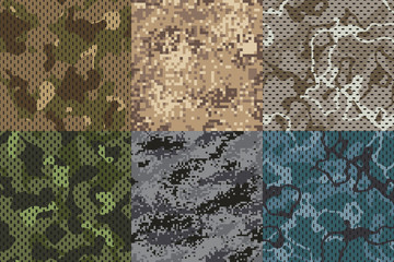 Camouflage khaki texture. Army fabric seamless forest and sand camo netting pattern vector textures set