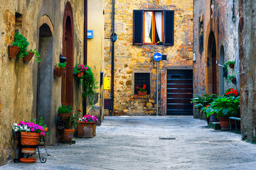Retro stone houses decorated with colorful flowers, Pienza, Tuscany, Italy