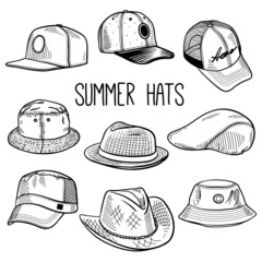 Set of sketches of summer hats and caps: baseball cap, snap-back cap, panama, fedora hat etc. Vector isolated illustration