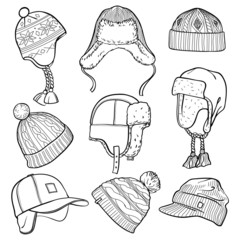 Set of 9 winter caps and hats sketches: baseball cap, ear flap hat, knitted hats, hats with a pom pom, fisherman beanie. Vector ink hand drawn illustration isolated on white background
