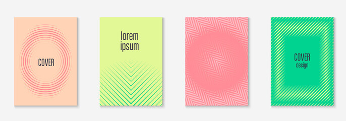 Line geometric elements on minimalist trendy cover template.