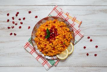 Arabic Food: Bulgur wheat, vegetable and chickpea pilaf.