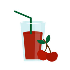 Cherry juice in a glass vector