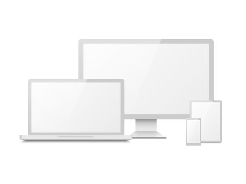 White device mockup. Tablet laptop smartphone screen computer pc display. 3d electronic touchscreen multimedia devices