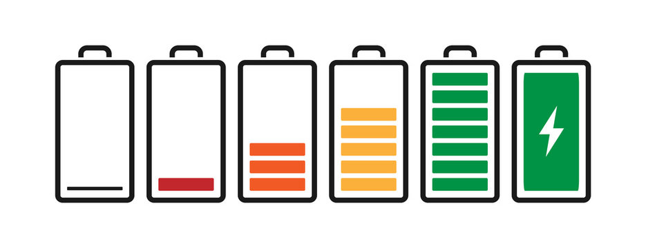 Battery charge indicator icons from blank to fully charged. Vector illustration for smartphone or laptop related themes. Isolated on white background.
