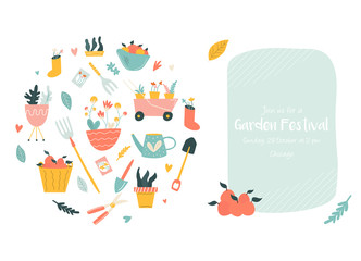 Garden festival invitation with gardening tools
