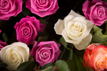 A bouquet of white and pink roses for a Valentine's gift