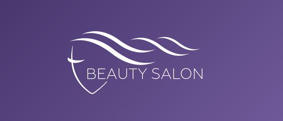 Beautiful woman vector logo template for hair salon. Logo vector cosmetic procedures, spa center