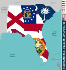 Alabama, Florida, Georgia and South Carolina
