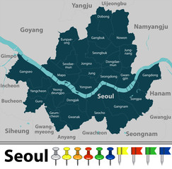 Map of Seoul, South Korea
