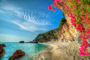 Beautiful vacation landscape in Greece,  sea and beach in summer holiday in Corfu island