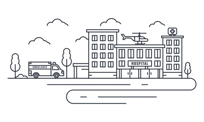 Hospital building with ambulance and helicopter in thin line style. Vector Illustration