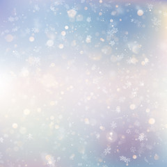 Christmas background with white blurred snowflakes. EPS 10