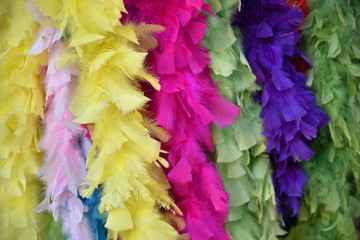 Boas de plumes colorées