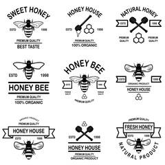 Set of honey labels template. Bee icons. Design element for logo, label, emblem, sign, poster.