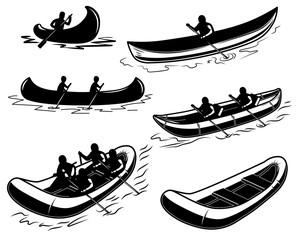Set of canoe, boat, raft illustration. Design element for poster, emblem, sign, poster, t shirt.