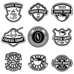 Set of vintage coffee shop emblems. Design elements for logo, label, sign, badge.