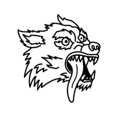 Wolf illustration in line style. Design element for emblem, sign, poster, t shirt.