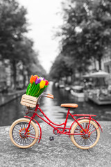 Amsterdam Spring City Bike Trip / Red dutch miniature bicycle with cute details at Amsterdam scenery background, tulip flowers in wooden crate, leather saddle, bright tires (color key, copy space)