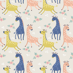 Cute giraffe in pastel color seamless pattern fabric textile wallpaper