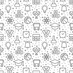 Education and science seamless pattern with icons in thin line style