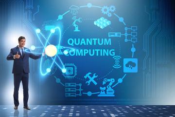 Businessman pressing virtual button in quantum computing concept