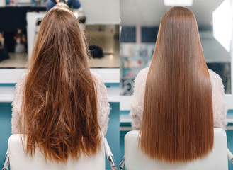Sick, cut and healthy hair care keratin. Before and after treatment