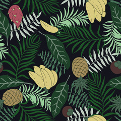 Tropical background with palm leaves and fruits. Seamless floral pattern. Summer vector illustration. Flat jungle print