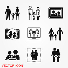 Family icon in flat style. Parents symbol for logo, web site design