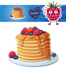 Pancakes with berries and honey icon. Cartoon vector illustration with raspberry character