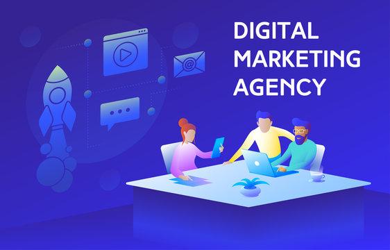 Colorful illustration of a modern digital marketing agency